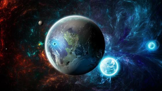 Earthlike planet space art wallpaper