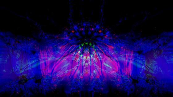 Blue psychedelic digital art wallpaper