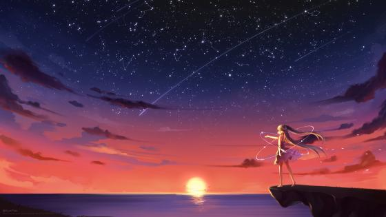 Blonde anime girl under the starry sky wallpaper
