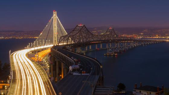 San Francisco–Oakland Bay Bridge Long Exposure Photography wallpaper