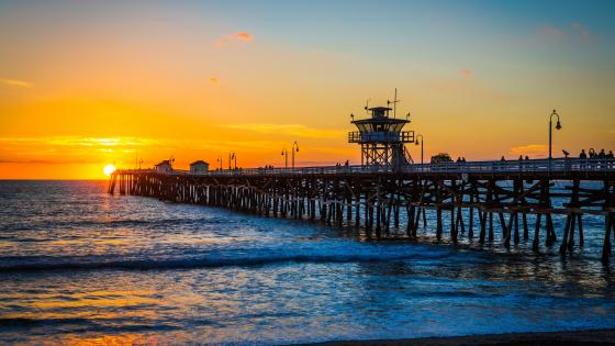 San Clemente Pier during sunset wallpaper