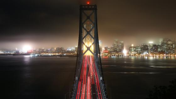 San Francisco–Oakland Bay Bridge at night wallpaper
