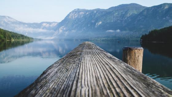 Lake Bohinj pier wallpaper
