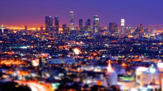 Los Angeles during night time- Tilt-shift photography wallpaper