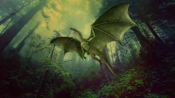 Dragon flying in the forest wallpaper