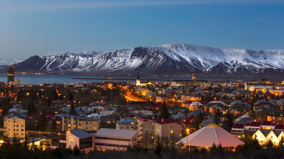 Reykjavik cityscape and the Mount Esja wallpaper