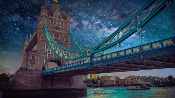 Milky way above Tower Bridge wallpaper