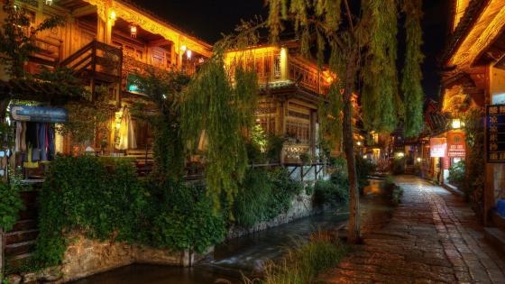 Old Town of Lijiang at night wallpaper