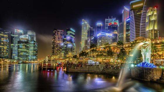Merlion Park at night, Singapore wallpaper