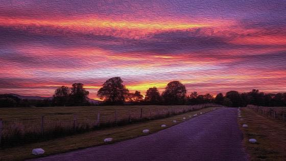 Country road at sunset - Painting art wallpaper