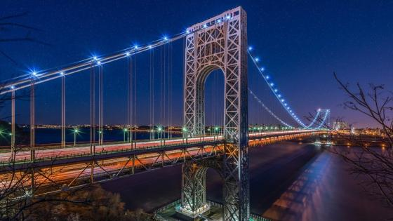 George Washington Bridge at night wallpaper
