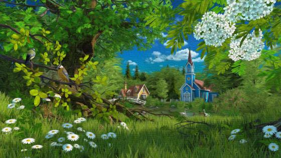 Artistic painting of a church, flowers, forest wallpaper