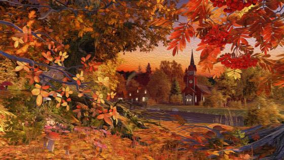 Riverside church at fall  - Painting art wallpaper