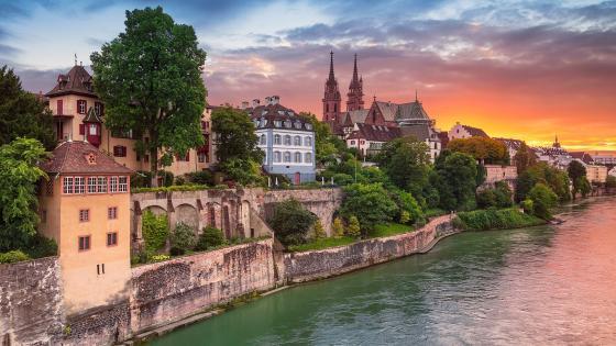 Rhine in Basle wallpaper