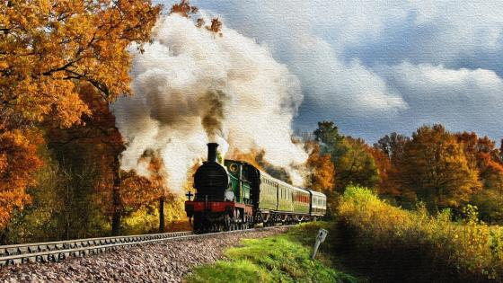 Steam-engine painting wallpaper