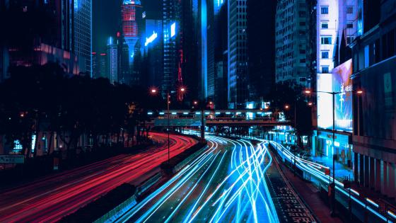 Red and blue light trails wallpaper