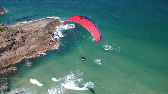 Paragliding over the sea wallpaper