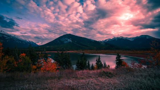 Landscape with pink clouds wallpaper