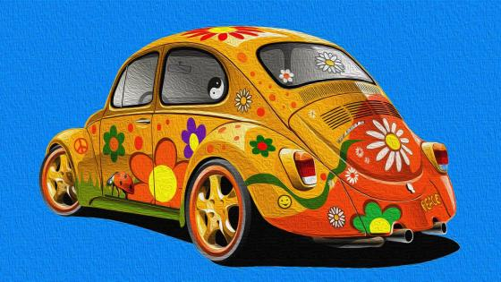 Flower decorated Volkswagen Beetle wallpaper