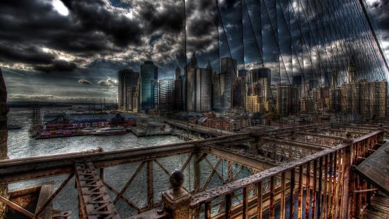 New York from Brooklyn Bridge wallpaper