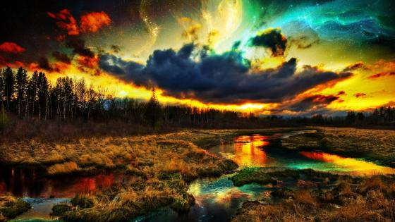 Colourful sky SciFi landscape wallpaper