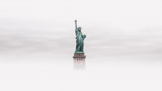 Statue of Liberty in the clouds wallpaper