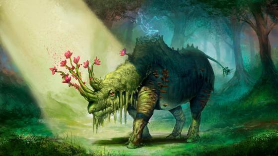 Rhino with flower horn - Fantasy art wallpaper