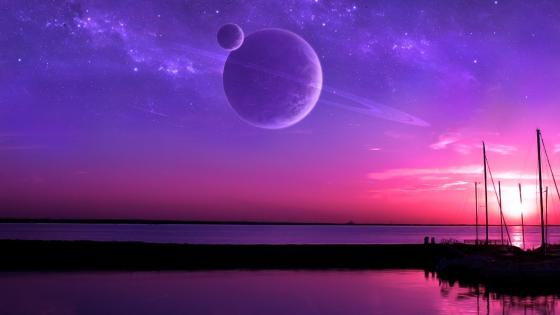 Purple space and water fantasy art wallpaper