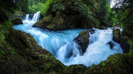 River bend waterfall wallpaper