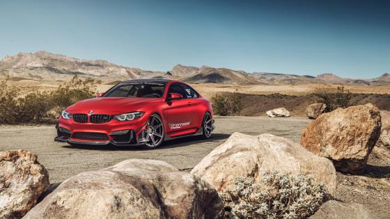 Frozen Red BMW M4 wallpaper