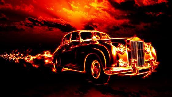 Flaming Classic Car wallpaper