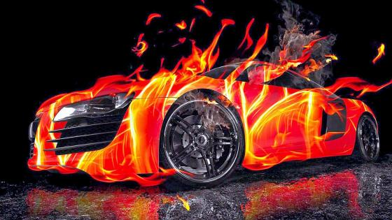 Flaming Red Ford Mustang wallpaper