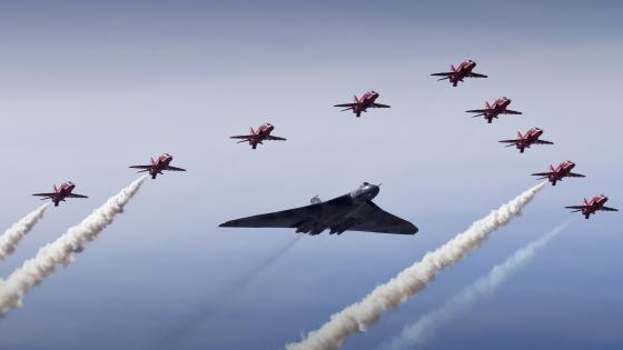 Avro Vulcan with Red Arrows wallpaper