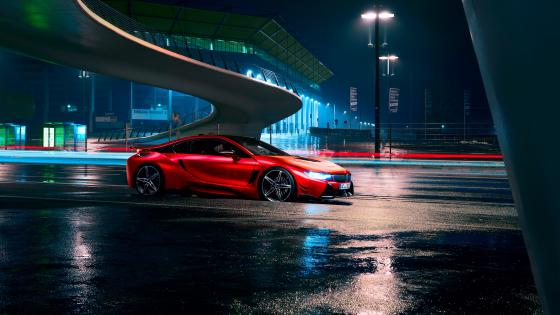 Red Ferrari under the bridge wallpaper