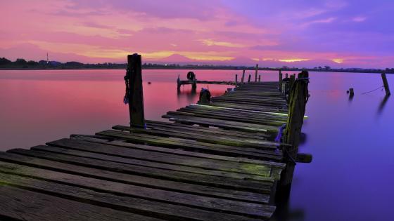 Colorful pier landscape wallpaper
