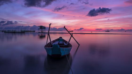 Purple sunset at Phu Quoc (Vietnam) wallpaper
