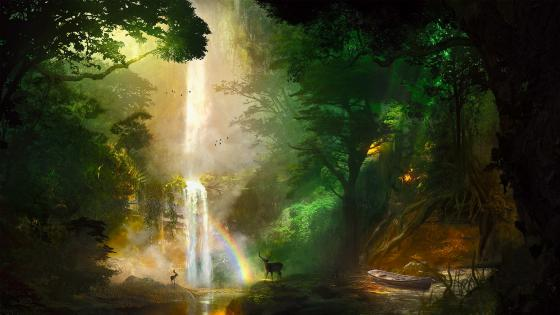 Deers at the waterfall with rainbow wallpaper