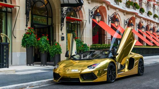 Golden Lamborghini Aventador wallpaper