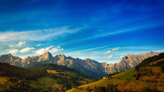 Blue sky over the mountains wallpaper