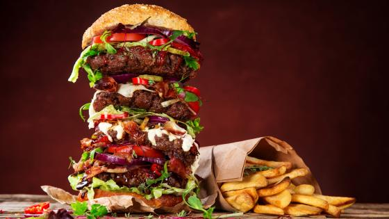 Hamburger with french fries wallpaper