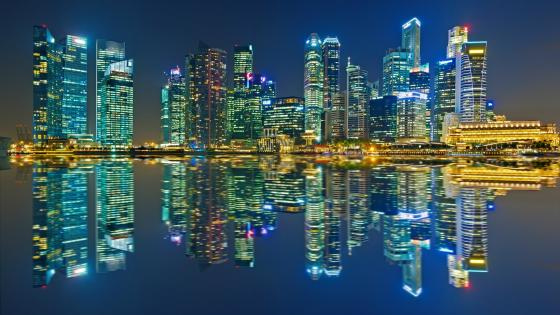 Singapore city lights wallpaper