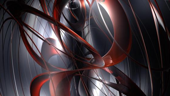Red and gray 3D digital abstract art wallpaper