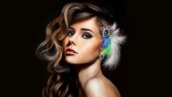 Fantasy beautiful girl painting wallpaper