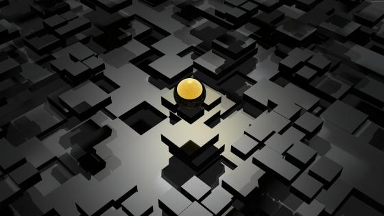 Black and Gold 3D abstract design wallpaper