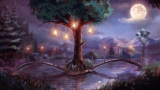 Bridge in the forest - Fantasy landscape wallpaper