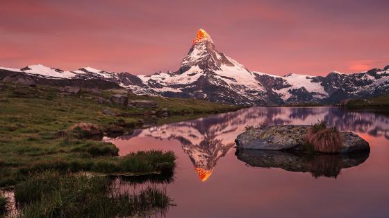 Matterhorn reflected in the Stellisee wallpaper