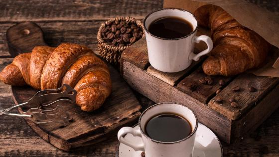 Croissant and coffee wallpaper