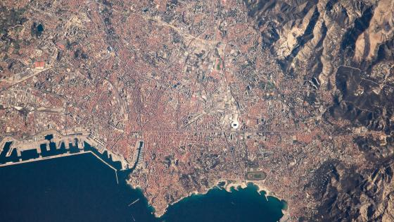 Aerial photo of Marseille, France. wallpaper