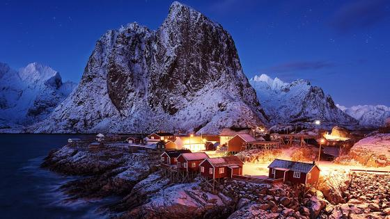 Cabins of Hamnoy wallpaper