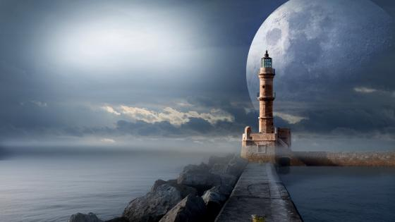 Fantasy lighthouse with a huge moon wallpaper